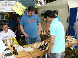 Wolverhampton Chess Club Stall at Wolverhampton Show: Dave Wightman playing public