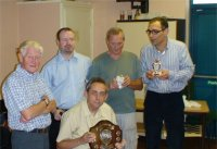 Wolverhampton Summer League Awards 07/08/08. Wolverhampton Summer League Div 3 South trophy. Recipients: front Paul Walters, rear, left to right is Barry Lewis, Gordon Sands, Peter Hubbard, Bob Khoshnevis. Richard Dawson not present.